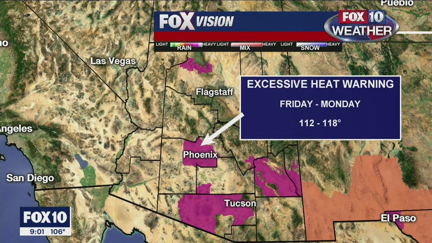 Excessive Heat Warning issued for parts of Arizona
