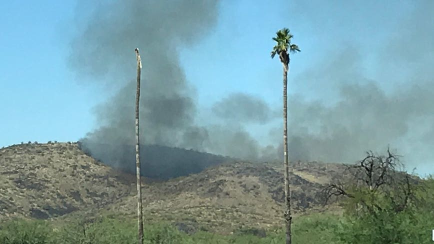 Crews fighting brush fire on Thunderbird Mountain in Glendale