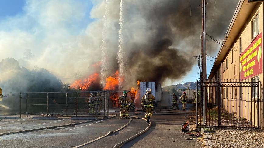 Fire crews respond to two-alarm fire at a Phoenix flower shop