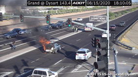 Vehicle fire in Surprise slows traffic as crews work to clear the road