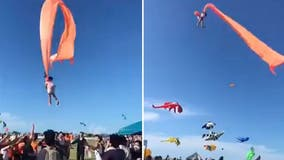 Video: 3-year-old girl safe after being lofted by kite in Taiwan