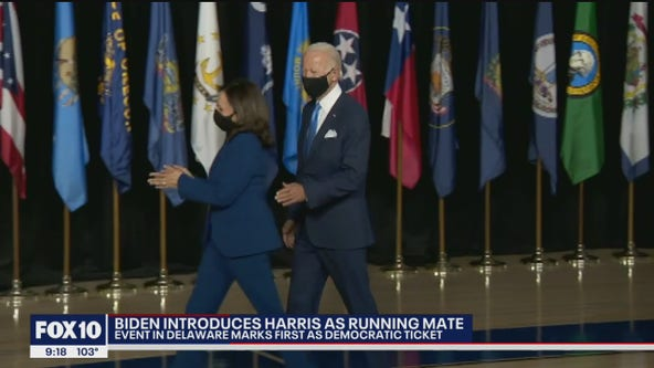 Joe Biden and his VP pick, Senator Kamala Harris, make first appearance as runnning mates