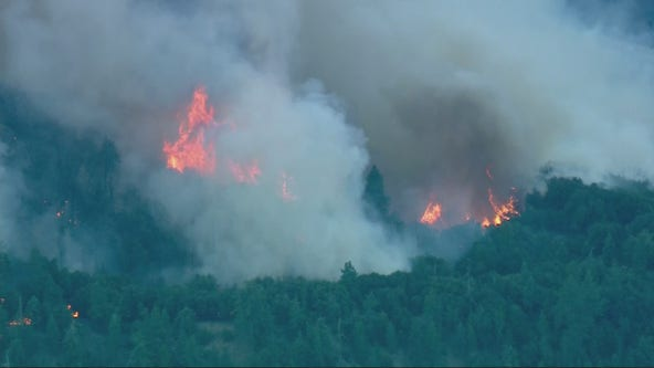 Evacuation orders remain in place as Apple Fire in Cherry Valley continues to spread