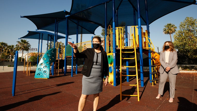 Los Angeles County Office of Education Supt. Debra Duardo tours Cerritos Elementary School in Glendale on Tuesday May 26, 2020 considering that with a persisting coronavirus threat, K-12 campuses will try to reopen in the fall. New L.A. County guidelines o