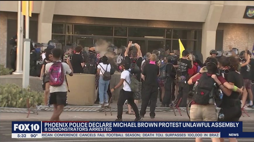 8 people arrested after march in Downtown Phoenix turned heated