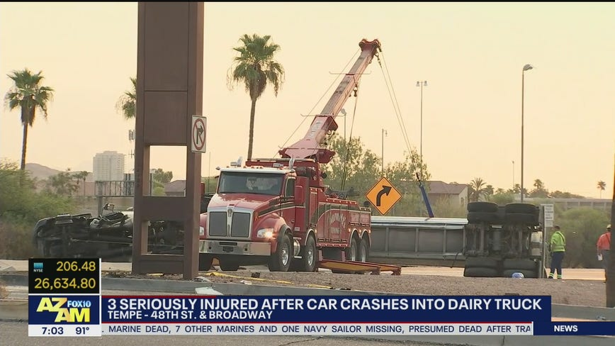 PD: 3 seriously injured after car crashes into dairy truck in Tempe
