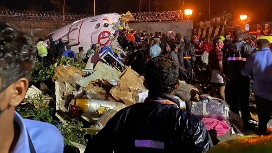 Air India flight skids off runway, splits in 2 while landing in southern India; 16 dead, more than 100 hurt