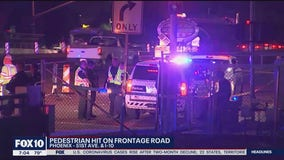 Pedestrian critically injured after being hit on frontage road