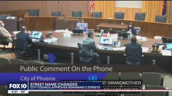 Phoenix City Council approves the renaming of two streets