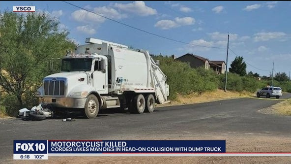 Motorcyclist dies after head-on collision with dump truck