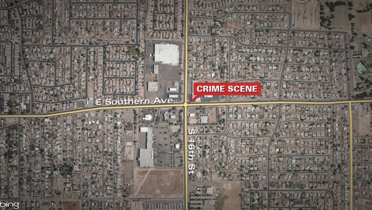 A map showing a shooting that happened in the area of Southern Avenue and 16th Street in the South Phoenix area of Phoenix, Arizona on September 17, 2020