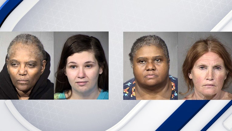 Booking photos showing suspects in a case involving the assault of a vulnerable adult. They are identified as, from left to right, Rodina Bailey, Stephanie James, Tena Martinez and Kristen Emerson