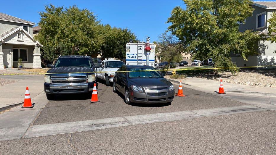 Cars at a Phoenix, Arizona crime scene