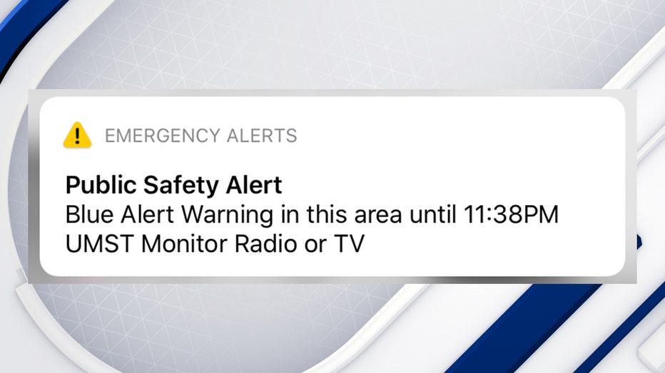 A photo showing a Blue Alert that was sent to a person's iOS device on September 17, 2020