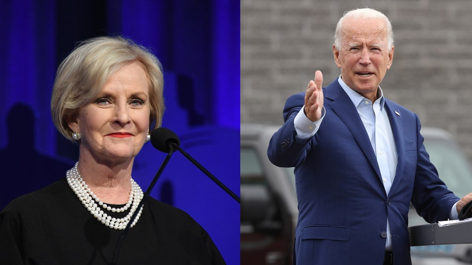Cindy Mccain, left. Joe Biden, right.
