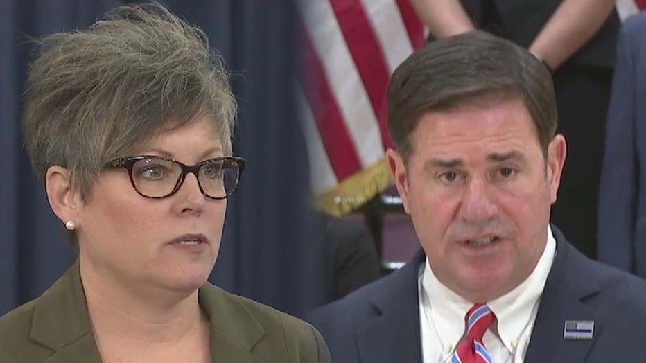Arizona Secretary of State Katie Hobbs and Governor Doug Ducey