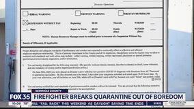 Firefighter suspended for breaking COVID-19 quarantine