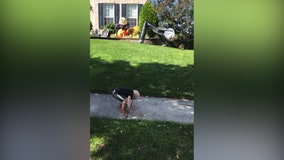 Adorable toddler mimics inflatable Halloween decoration