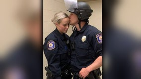 Newlywed officers recognized for immediately going back to work after wedding in order to respond to riots