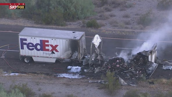 FedEx truck fire on I-8 causes eastbound lanes to be shut down