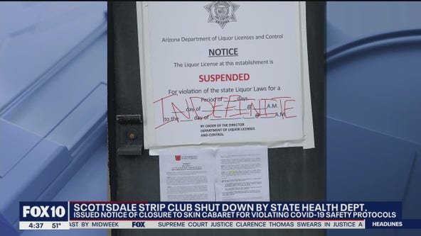 Scottsdale strip club shut down for violating COVID-19 safety protocols