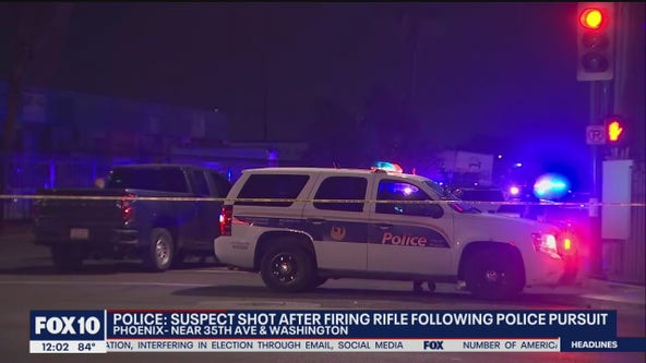 Police: Suspect armed with rifle shot by officer following pursuit in Phoenix
