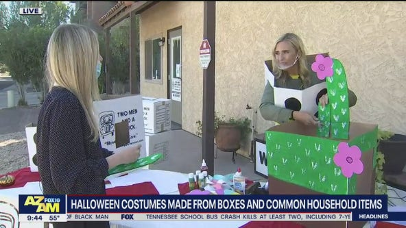 Making DIY Halloween costumes using boxes, household items
