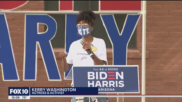 Actress Kerry Washington appears at Biden campaign's Get Out the Vote rally in Phoenix