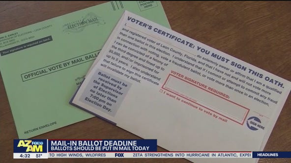 Arizona officials say Oct. 27 is last day to mail ballots