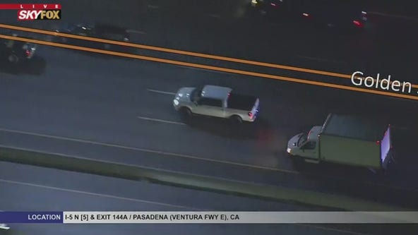 WATCH LIVE: Search underway for pursuit suspect in Burbank