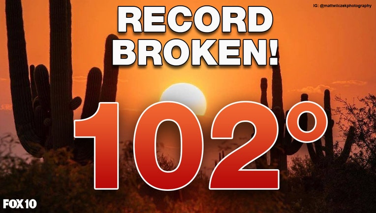 102°F heat in the Valley on 10/16/2020, breaking temperature records