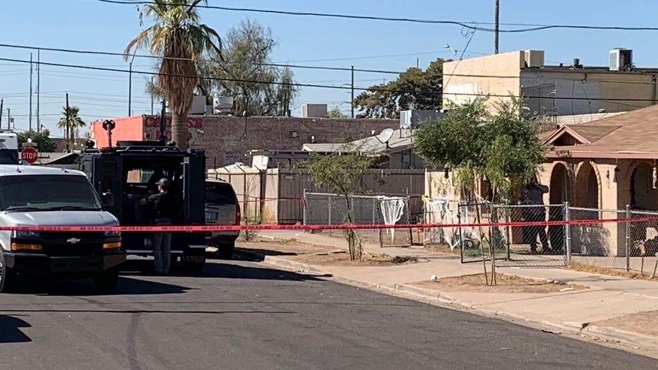 Photo showing the scene of a police shooting involving an armed robbery suspect in Phoenix, AZ