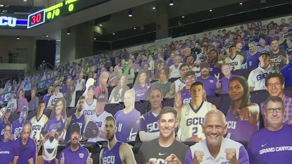 Student cut-outs to fill the stadium during Grand Canyon University first home basketball game