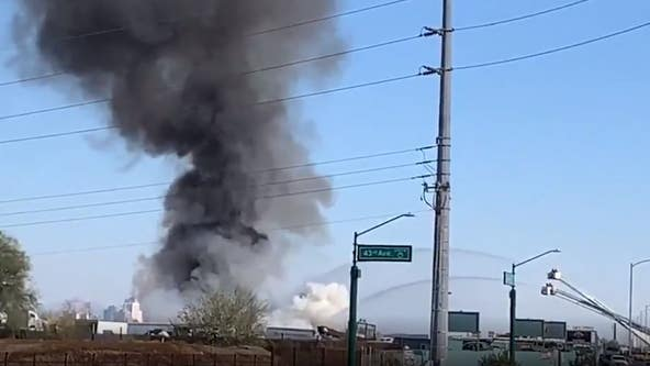 Phoenix fire crews battling first-alarm junkyard fire