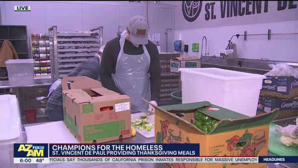 Volunteers working to provide Thanksgiving Day meals with St. Vincent de Paul