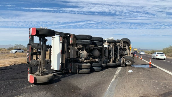 Westbound I-10 reopens after dump truck rollover crash