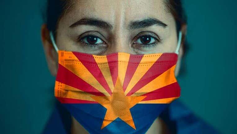 Face mask with Arizona flag