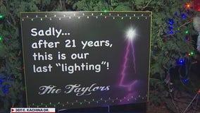 Taylor Family's Christmas decor lights up the neighborhood one last time