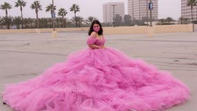 Try this on for size: College student creates her own 12-foot social distancing dress