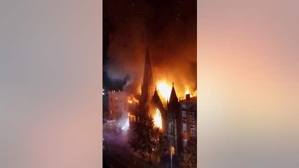 Predawn fire guts old church housing New York's Liberty Bell