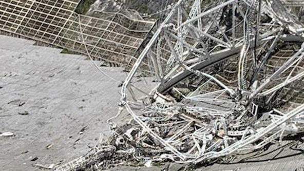 Damaged Arecibo radio telescope in Puerto Rico collapses