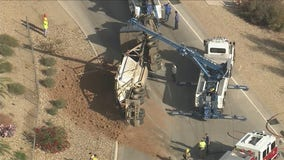 Semi-truck rolled over on Loop 303 at Waddell Road