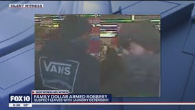 Suspect pulls a knife out during a robbery at a Family Dollar in Phoenix