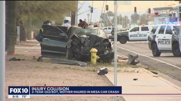 Woman, child critically injured after car crashes into power pole and fire hydrant in Mesa