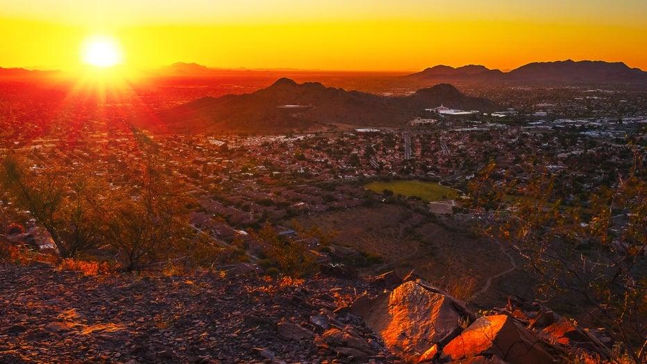 Phoenix city skyline at sunrise