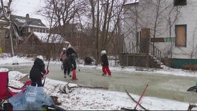 Vacant lot transformed into homemade ice skating rink for kids