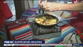 Learning some delicious Super Bowl recipes with Aunt Chilada's