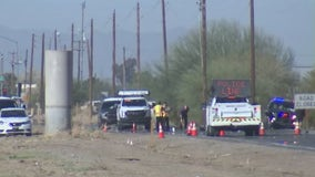 Motorcyclist hospitalized after crash involving dump truck in Queen Creek
