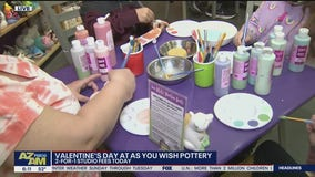 Make Valentine's Day pottery at As You Wish