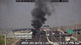 One dead in fiery crash on Loop 202 near 17th Avenue in Phoenix